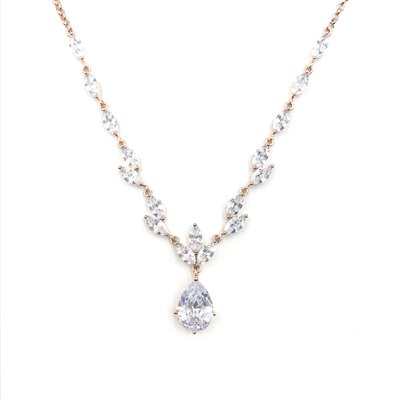 CZ Formal Necklace w Teardrop Pendant in Rose Gold
