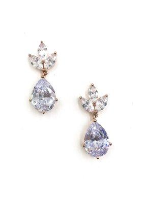 DS Bridal Rose Gold Large Teardrop w Triple Crown AAA CZ Drop Earrings