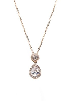 DS Bridal Rose Gold Teardrop AAA CZ w Halo & Ball Accent Necklace