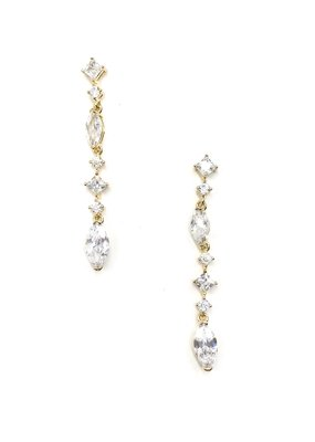 DS Bridal CZ Gold Multi Shaped Stone Dangle Earrings
