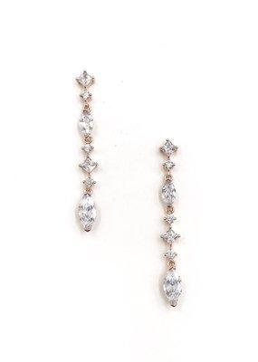 DS Bridal CZ Rose Gold Multi Shaped Stone Dangle Earrings