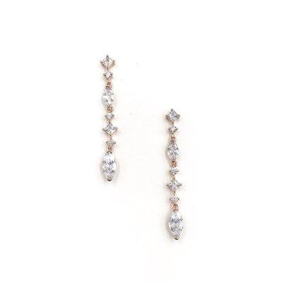 CZ Rose Gold Multi Shaped Stone Dangle Earrings