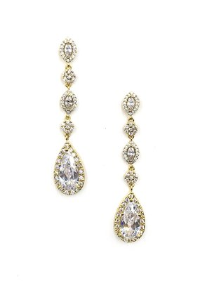 DS Bridal Gold AAA Cubic Zirconia Dangling Teardrop Earrings