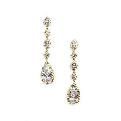 Gold AAA Cubic Zirconia Dangling Teardrop Earrings