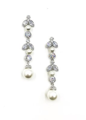 DS Bridal Silver CZ Flower Drop Earrings with Pearls