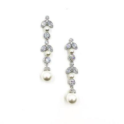 Silver CZ Flower Drop Earrings with Pearls
