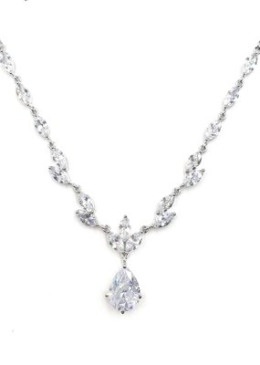 DS Bridal CZ Formal Necklace with Teardrop Pendant