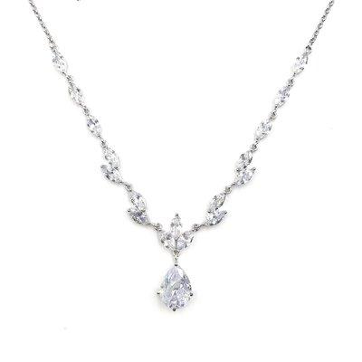 CZ Formal Necklace with Teardrop Pendant