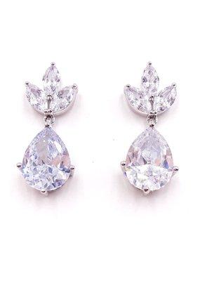DS Bridal Silver Large Teardrop w Triple Crown AAA CZ Drop Earrings
