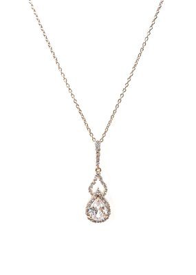 Rose Gold Teardrop AAA CZ w Halo Open Accent Necklace