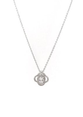 Sterling Silver Clover Halo Necklace