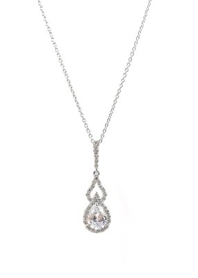 DS Bridal Silver Teardrop AAA CZ w Halo & Open Accent Necklace