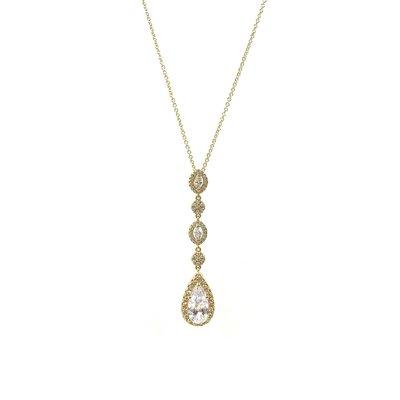 Gold Long Teardrop AAA CZ & Oval Halo Necklace