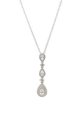 Silver Triple Teardrop AAA CZ w Double Halo Necklace