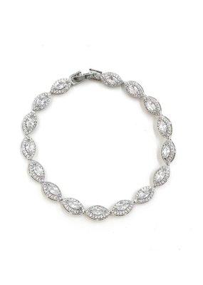 DS Bridal AAA CZ Halo Oval Tennis Bracelet in Silver
