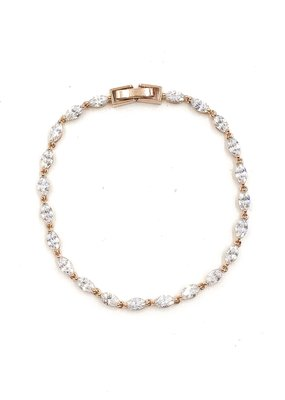 DS Bridal AAA CZ Simple Oval Tennis Bracelet in Rose Gold