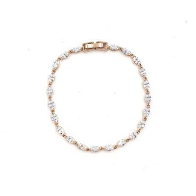 AAA CZ Simple Oval Tennis Bracelet in Rose Gold