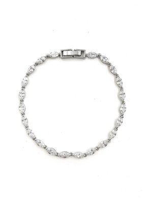 DS Bridal AAA CZ Simple Oval Tennis Bracelet in Silver