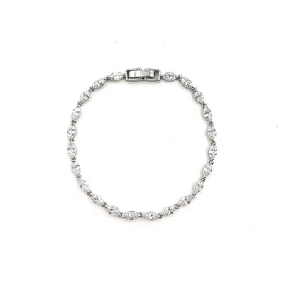AAA CZ Simple Oval Tennis Bracelet in Silver