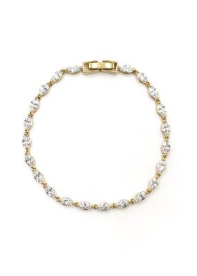 DS Bridal AAA CZ Simple Oval Tennis Bracelet in Gold