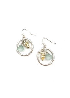 Splendid Iris Open Circle with Aqua Teardrop with Shell and Charms Silver Earrings