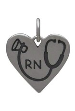 Sterling Silver RN Heart Stethoscope Charm