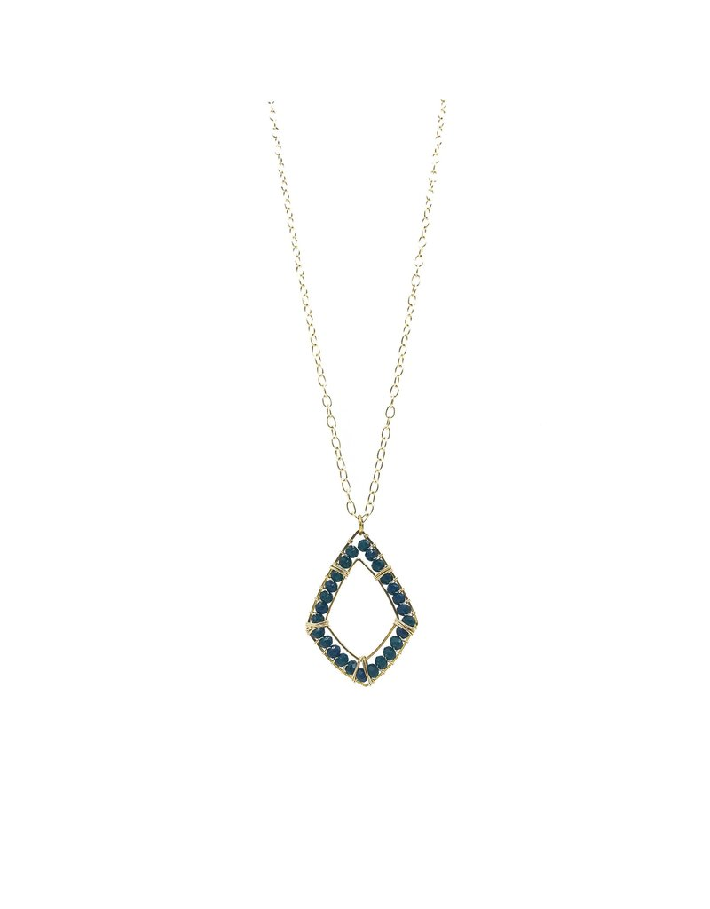 Ryan Necklace Gold And Teal Chalcedony