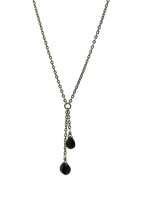 Edgy Petal Double Spinel and Brass Necklace