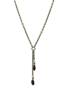Edgy Petal Double Garnet and Brass Necklace