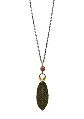 Edgy Petal Muscovite Beaded Leaf Necklace on Long Brass Chain
