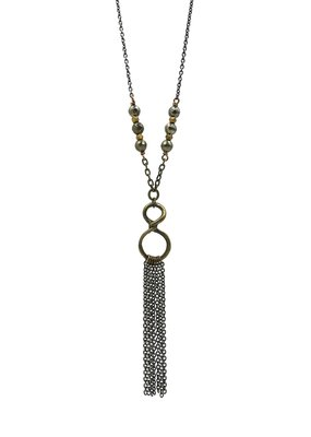 Edgy Petal Pyrite and Brass Infinity Tassel Necklace