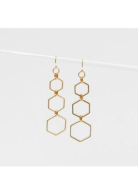 Larissa Loden Brass Hexacomb Earrings