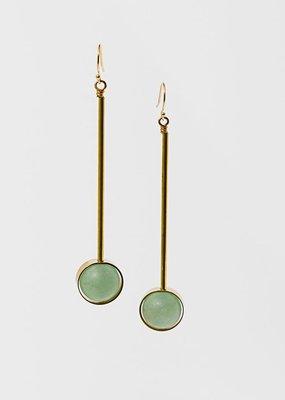 "Larissa Loden Green Aventurine Stone w Brass Bar Abberant 3"" Earrings"