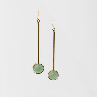 Larissa Loden Green Aventurine  Abberant Earrings