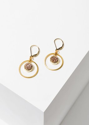 Larissa Loden Brass Hoop Circle w Rose Druzy Kamilah Earrings