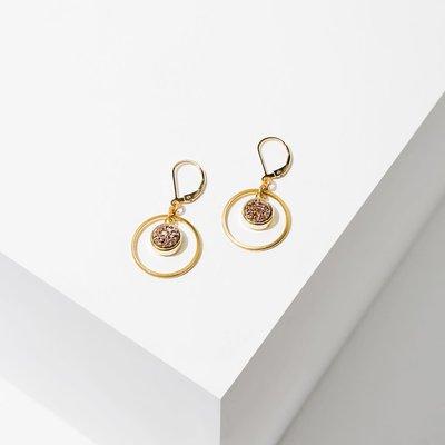 Larissa Loden Brass Hoop Circle w Rose Druzy Kamilah Earrings