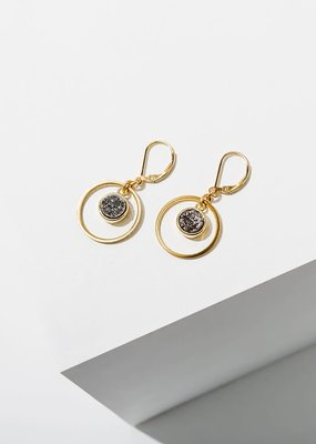 Larissa Loden Brass Hoop Circle w Silver Druzy Kamilah Earrings
