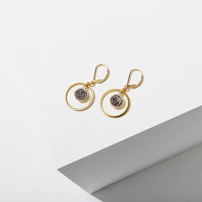 Larissa Loden Brass Hoop Circle w Silver Druzy Kamilah Earrings