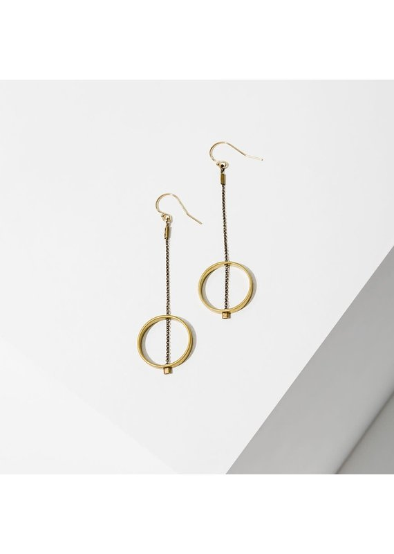 Larissa Loden Brass Threaded Horizon Circle Earrings