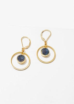 Larissa Loden Brass Hoop Circle w Blue Druzy Kamilah Earrings