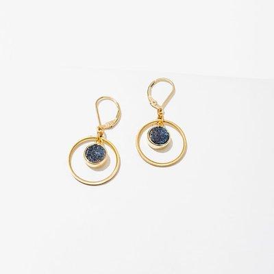 Larissa Loden Brass Hoop Circle w Blue Druzy Kamilah Earrings