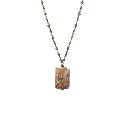 Inspire Designs Short Bronze My Rock Necklace with Peach and Blue Pendant