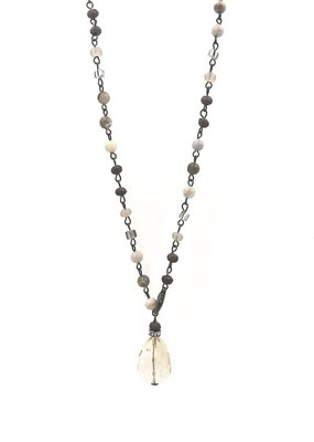 VB & Co. Designs Adjustable Beaded & Clear Teardrop Crystal Y-Shape Necklace