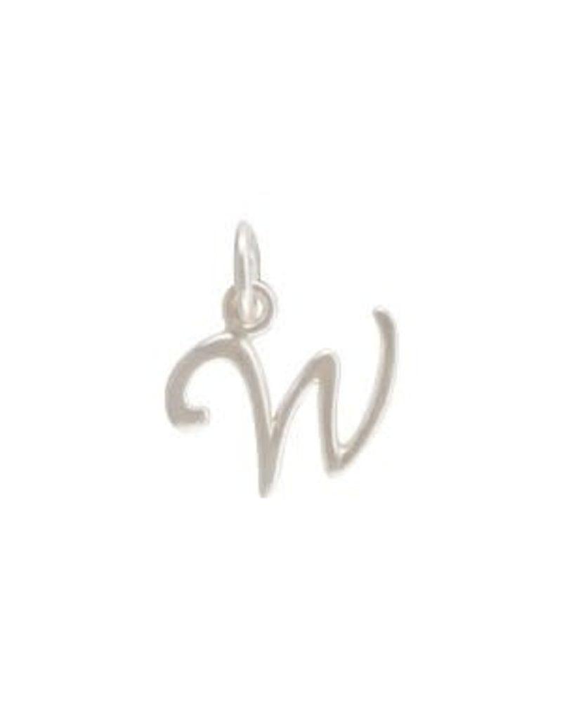 Sterling Silver Initial W Script Charm
