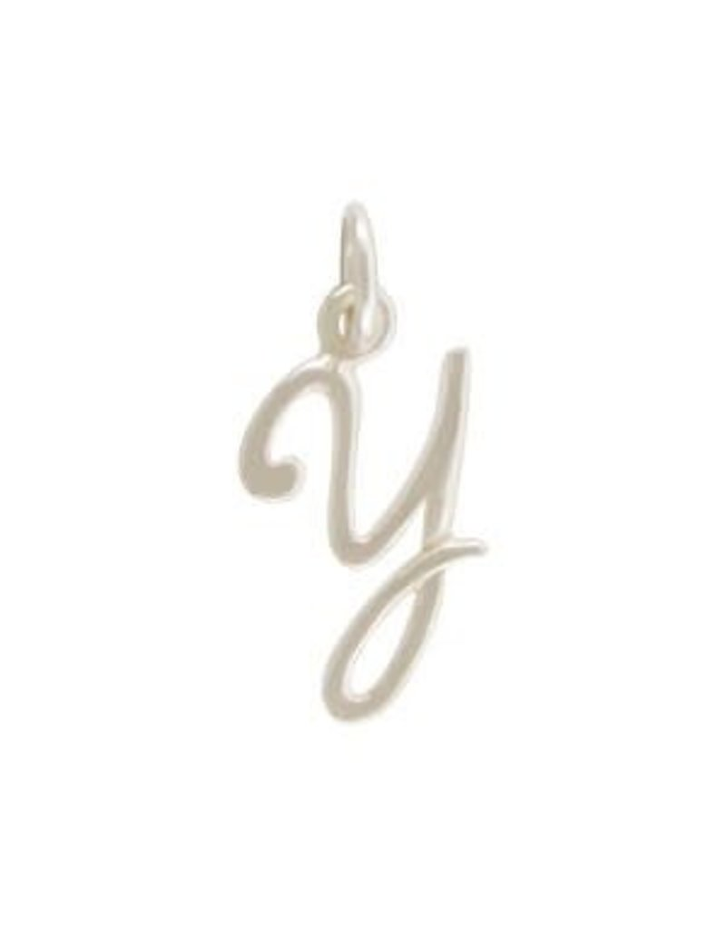 Sterling Silver Initial Y Script Charm