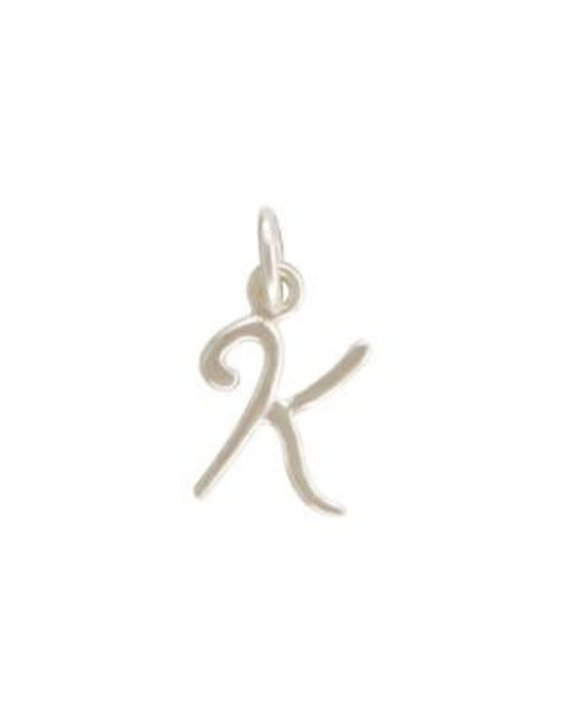 Sterling Silver Initial K Script Charm