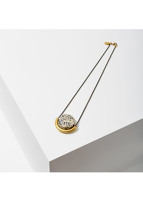 Larissa Loden Dalmation Jasper Sun & Moon Brass Necklace