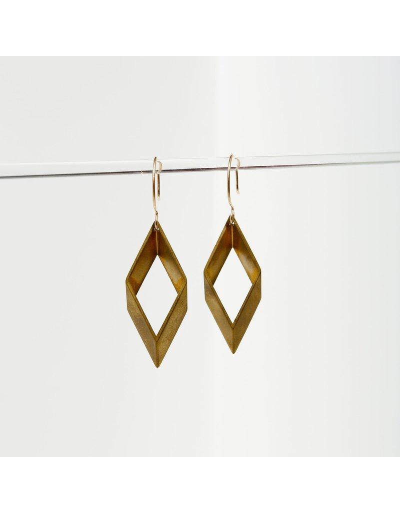 Larissa Loden Small Open Brass Diamond Earrings
