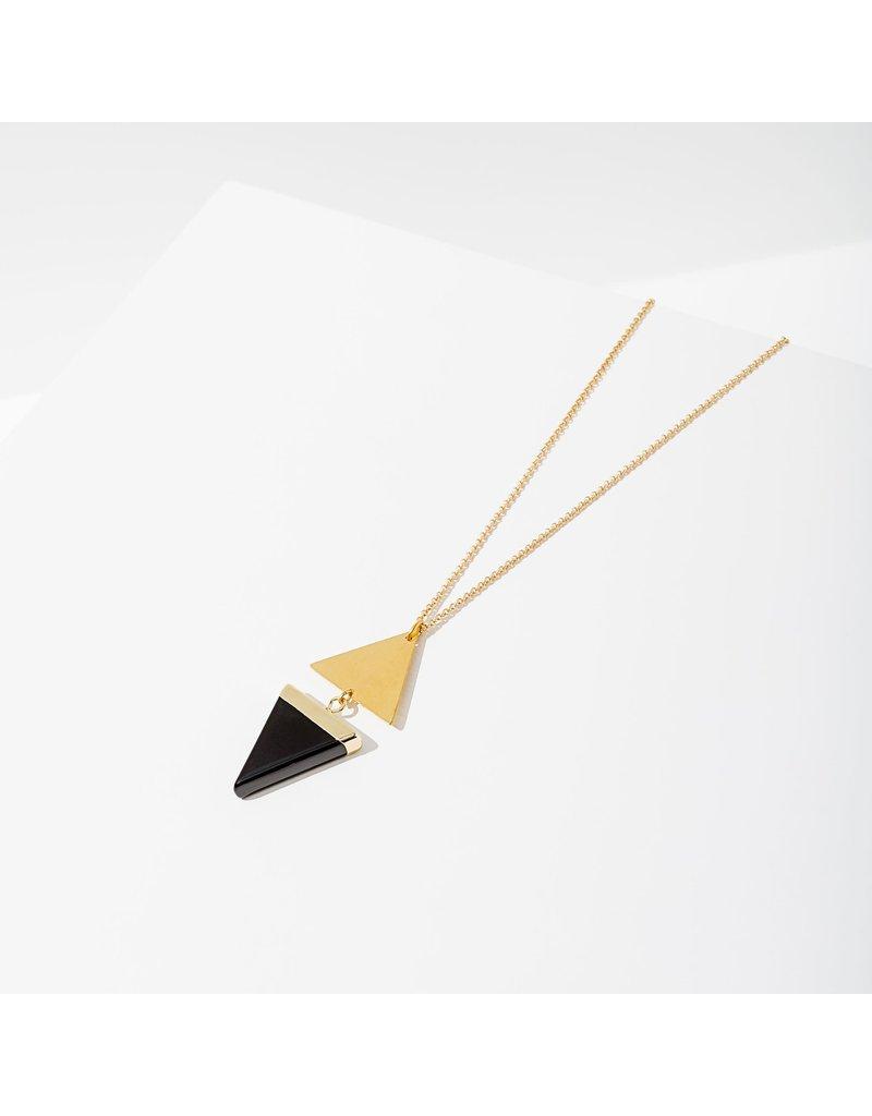 Larissa Loden Golden Brass Black Onyx Echo Necklace