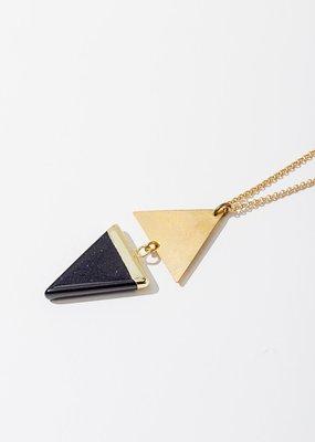 Larissa Loden Golden Brass Blue Goldstone Echo Necklace